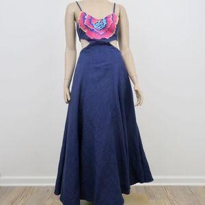 Mara Hoffman Long Maxi Dress Blue Floral Cut Out D